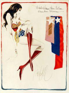 "vintagegal:  Costume design sketch by Donfeld for the ""Wonder Woman"" ABC/CBS TV series, 1976-1979 (via)"