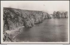 Cliffs at Treen, St Levan, Cornwall, c.1930s - RP Postcard