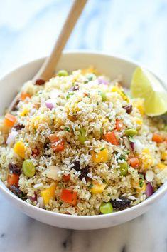 Whole Food'S California Quinoa Salad with Quinoa, Balsamic Vinegar, Limes, Mango, Red Bell Pepper, Edamame, Red Onion, Coconut Flakes, Sliced Almonds, Raisins, Cilantro Leaves.