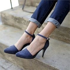 Faux-Suede Mary Jane Pumps