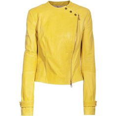 SLY 010 Biker Sunny Yellow Lamb leather biker jacket (3.375 BRL) ❤ liked on Polyvore featuring outerwear, jackets, coats & jackets, leather jackets, yellow biker jacket, moto biker jacket, slim motorcycle jacket, short-sleeve jackets and asymmetrical zip jacket