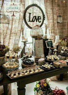 very pretty dessert buffet and homey decor.