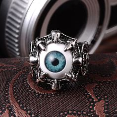 Stainless Steel Biker Ring Devil Eyeball Halloween Party (Color: Blue)    | Save upto 50% with us |  Visit our website now  uniquefashionusa.com