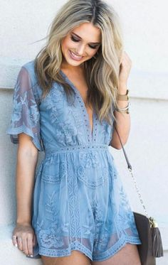 #summer #outfits  Blue Lace Romper