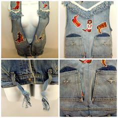 #Handmade #WomensVest #Levis  #Frayed #Western #Cowgirl #Country #Fringe #WomensFashion