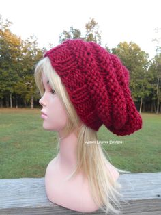 Beehive hat. Red with a touch of sparkle. Extra chunky winter hat. Women s slouch  hat. 8f19b3beabd0