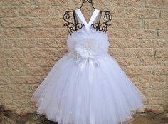 Tutu Dress LITTLE WHITE PEARLS Full Fluffy by ElsaSieron on Etsy