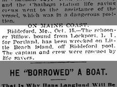 Schooner wrecked off of Biddeford Pool, Maine October 15, 1904