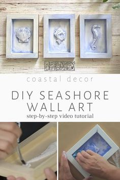 Easy DIY beach decor! Here's a coastal wall art collection you can make for beach bathroom decor or a beach themed living room on a budget. If you love seahorses, seashells or sand dollars in your DIY home decor, you're gonna LOVE all the things you can do with the IOD Sea Shells Mould. Other beach theme ideas you can make - DIY seahorse jewelry, shell soaps, beach cake decorations, shell shaped cookie mold - read on for more! Diy Home Decor Bedroom, Diy Home Decor Projects, Recycling Projects, Beach Cottage Style, Beach House, Seashore Decor, Iron Orchid Designs, Sand Dollars, Elegant Home Decor