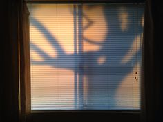 Silhouette on the bedroom blinds.