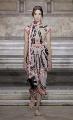 Temperley London Summer '16 Midi Belle Dress Worn with Belle Embroidered Dinner Scarf