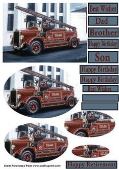 Vintage Fire Engine  on Craftsuprint designed by Paul Robinson - A vintage Cape Hill Brewery Fire Engine pyramid topper including text plates and 2 blank plates for use with peel offs or rub ons. - Now available for download!