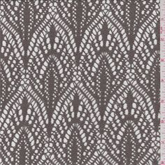 Taupe brown.Thissheer, lightweightpolyester crocheted fabric has ascalloped medallion design.Compare to $12.00/yd