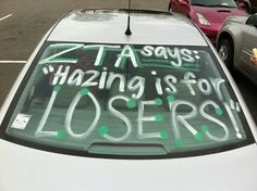 Eta Alpha Chapter's (Georgia Southwestern State University) Risk Management chair held a week-long contest for members who wore their anti-hazing buttons. She picked a daily winner by posting it to Facebook. (GREAT IDEA!) This member painted her car to spread awareness!