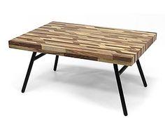Table basse bois d'acacia et fer, naturel et noir - L90