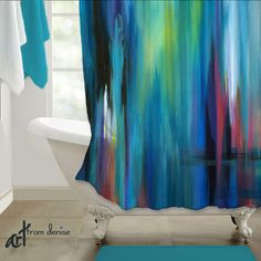 Abstract shower curtain art. Jewel tone bathroom decor by Denise Cunniff -ArtFromDenise.com. View more info at https://www.etsy.com/listing/261782752