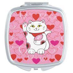 Valentine Maneki Neko Lucky Cat Makeup Mirror