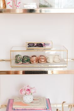 Pink and Gold Nursery Decor - framed moccasins. So chic!