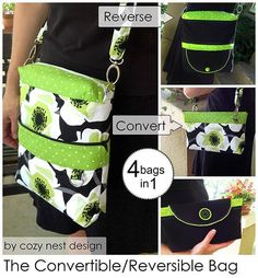 Convertible Reversible 4-in-1 Bag PDF Sewing Pattern from Cozy Nest Design + 11 More Convertible Bags to Sew