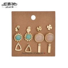 ASACH Vintage Clover Earrings Set Trendy Jewelry Geometry Hand Flowers Triangle Pattern Stud Earrings Ear Stud For Women brincos #Affiliate