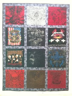 T-Shirt quilt with sashing from themed t-shirts.
