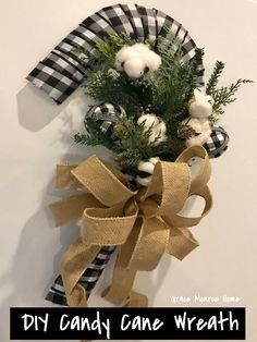 These DIY Candy Cane Wreaths are so cute and easy to make! They are inexpensive and such a fun Christmas craft. Diy Christmas Ribbon Wreath, Dollar Tree Christmas, Dollar Tree Crafts, Diy Wreath, Christmas Diy, Xmas Wreaths, Wreath Ideas, Candy Cane Wreath, Candy Cane Crafts