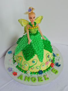 Tinkerbell piped doll cake