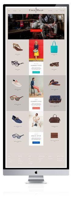web design / clean layout / minimal / color pops / Cole Haan by Joshua Long / via Behance Web Design Mobile, Web Mobile, Design Page, News Web Design, Interface Web, User Interface Design, Logo Design, Email Design, Website Design Inspiration