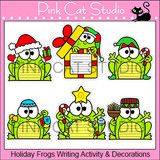 Christmas, Hanukkah & Kwanzaa Frogs Writing Activity and Bulletin Board Decorations by Pink Cat Studio | Pink Cat Studio