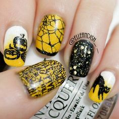 Halloween Nail Art Video Tutorial from Janelle @Elleandish - break out those Konad stamps and follow her step by step on how to get this look!