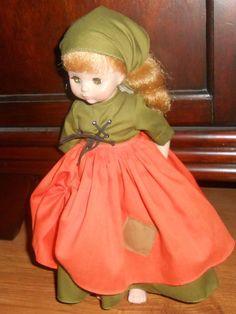 "Vtg MADAME ALEXANDER1965 13"" Poor Cinderella Doll Green Orange Dress  #MadameAlexnader #Dolls"