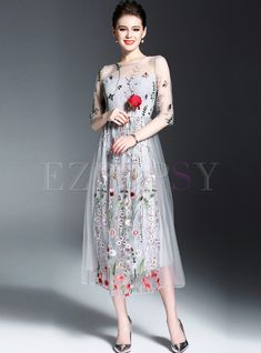 Shop for high quality Sexy Embroidery Half Sleeve Maxi Dress online at  cheap prices and discover 5bfe73466e5