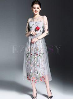 Sexy Embroidery Half Sleeve Maxi Dress. Letní ŠatyKrajkové ... e28f8b95a8