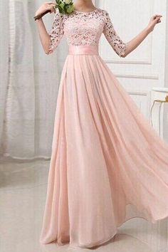 A Line Round Neck Prom Dress,Half Sleeves Pink Long Prom Dresses, Custom Made Evening Dresses, Pink Bridesmaid Dresses Peach Maxi Dresses, Pink Chiffon Dress, Lace Dress With Sleeves, Lace Evening Dresses, Lace Chiffon, Dress Lace, Pink Maxi, Dress Red, Half Sleeves