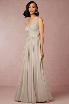 Really love this bridesmaid's dress in this gorgeous dove gray Fleur Dress from BHLDN