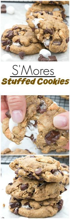 S'Mores Stuffed Cookies are everything you need to enjoy the outdoors while sitting around the campfire.