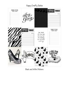 FREE FREEBIE: Black and White Stickers for (The Happy Planner)