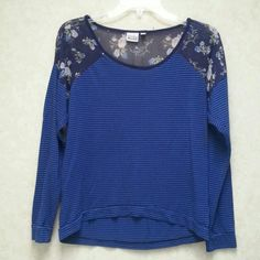 Mudd tee with chiffon shoulders and back Beautiful printed chiffon is set at shoulders and back. Chiffon is sheer as you can see in pic 4, but it is used well on this top. Bottom and sleeves are a striped stretchy tee material.   Very unique top. Mudd Tops Tees - Long Sleeve