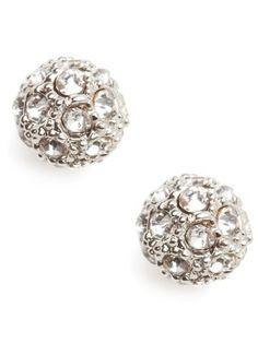 Silver pave stud earrings. $22