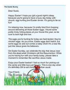 Religious Easter Morning Letter from The Easter Bunny