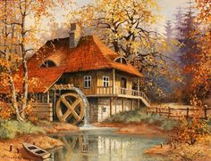 thomas kinkade Autumn home gif Thomas Kinkade Art, Kinkade Paintings, Thomas Kincaid, Art Thomas, Fall Vacations, Paint By Number Kits, Arte Pop, Cross Paintings, Henri Matisse