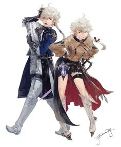View an image titled 'Alphinaud & Alisaie Art' in our Final Fantasy XIV: Stormblood art gallery featuring official character designs, concept art, and promo pictures. Final Fantasy Xiv, Fantasy Logo, Final Fantasy Characters, Final Fantasy Artwork, Fantasy Series, Fantasy World, Character Inspiration, Character Art, Character Design