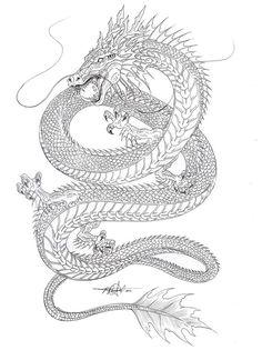 Drawn chinese dragon black and white #759