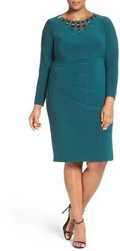 Vince Camuto Embellished Neck Jersey Sheath Dress (Plus Size)