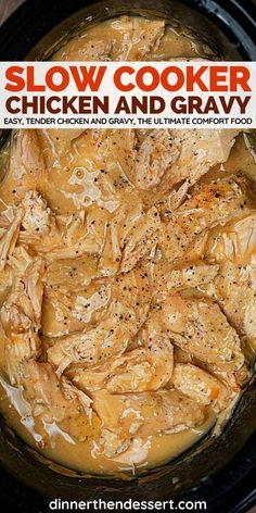 low Cooker Chicken Breasts and Gravy is the ultimate comfort food, an easy crockpot recipe for tender chicken and yummy gravy. #crockpot #slowcooker #chicken #gravy #slowcookerchicken #crockpotchicken… More