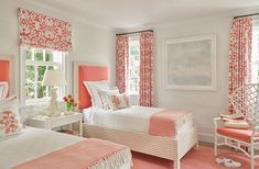 A guest bedroom in sunny Palm Beach. Beach House Bedroom, Guest Bedroom Decor, Bedroom Bed Design, Guest Bedrooms, Bedroom Colors, Home Bedroom, Girls Bedroom, Living Room Decor, Bedroom Ideas