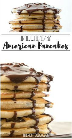 Weekend breakfast doesn't get better than homemade Fluffy American Pancakes - This basic recipe will get you guaranteed fluffy results every time! Recipe by The Petite Cook - www.thepetitecook.com
