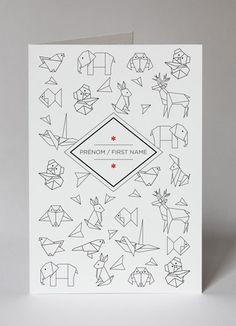 announcement faire part carte card papier tigre personnalisation customization origami