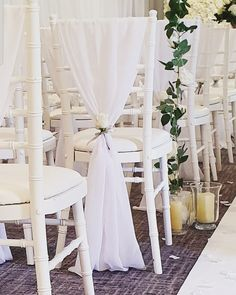 Our stunning white drapes. Chair Sashes, Wedding Chairs, Wedding Events, Tulle, Sparkle, Curtains, Table Decorations, Furniture, Home Decor