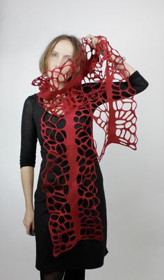 Felted scarf lacey loads of holes decorative REd. €79,00, via Etsy.